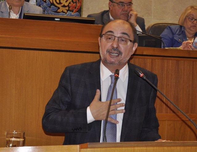 El presidente de Aragón, Javier Lambán, en su comparecencia en las Cortes