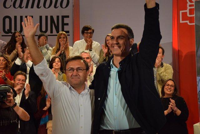 Miguel Ángel Heredia y Pedro Sánchez PSOE