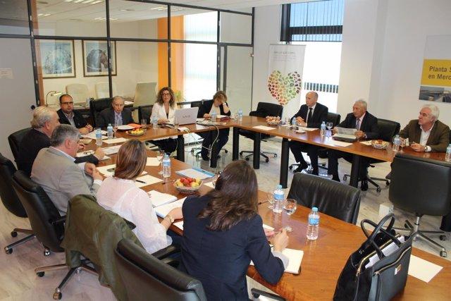 Un instante de la reunión del Consejo de Admnistración de Mercalicante