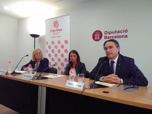 Presentación de un acuerdo de Diputación de Barcelona y Càritas sobre vivienda