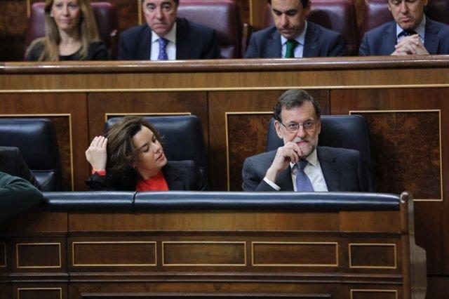 Rajoy y Santamaría en el Pleno del Congreso sobre último Consejo Europeo