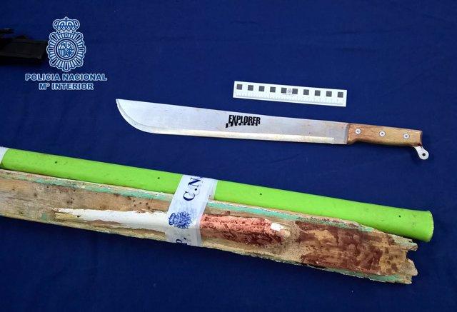Armas usadas en una reyerta en Jerez con dos heridos graves