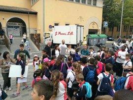 Unos 150 alumnos participan en un taller para conocer el comercio de proximidad en la zona del mercado del Olivar