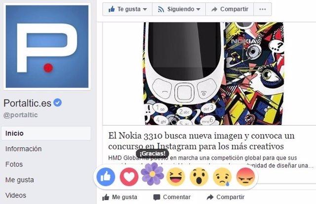 Facebook reactions reacciones flor morada día de la madre