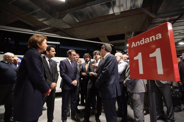 El pte. Carles Puigdemont inaugura la estación de autobuses de Girona