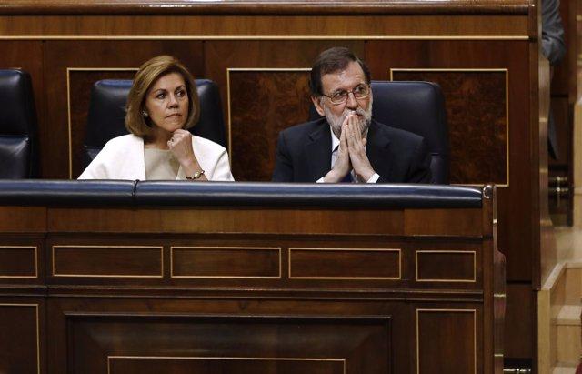 Mariano Rajoy y Cospedal en el debate sobre los Presupuestos en el Congreso