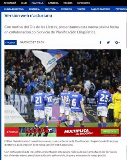 Captura de pantalla de la web n'asturianu del Real Oviedo.
