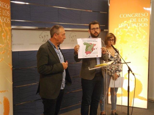 Joan Baldoví, Ignasi Candela y Marta Sorlí  en el Congreso