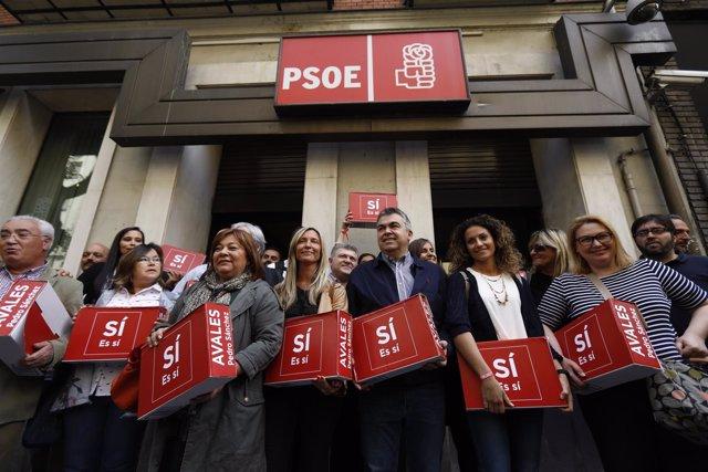 Presentan los avales de Pedro Sánchez en la sede del PSOE
