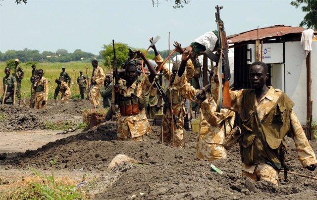 Militares del Ejército sursudanés en Malakal