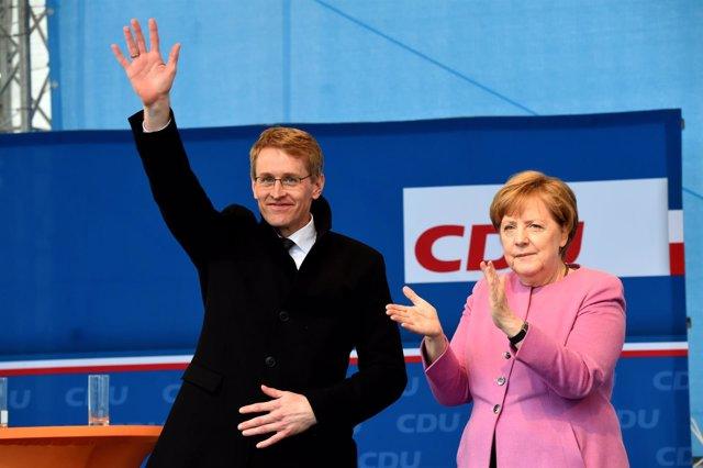 Merkel y el candidato de la CDU en Schleswig-Holstein