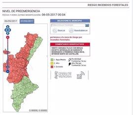 Riesgo extremo de incendios en toda la provincia de Valencia y el interior de Castellón