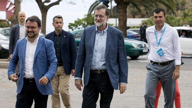 Asier Antona, Mariano Rajoy y Manuel Domínguez