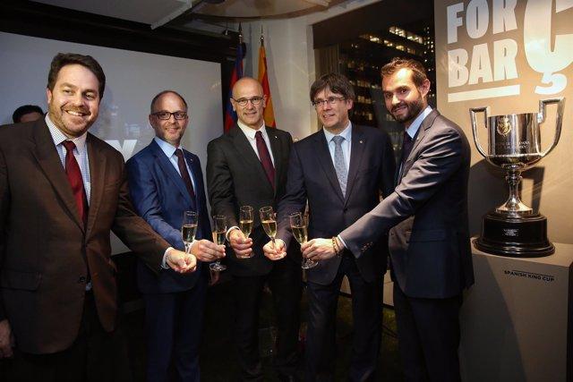 Puigdemont durante una recepción organitzada por el FC Barcelona
