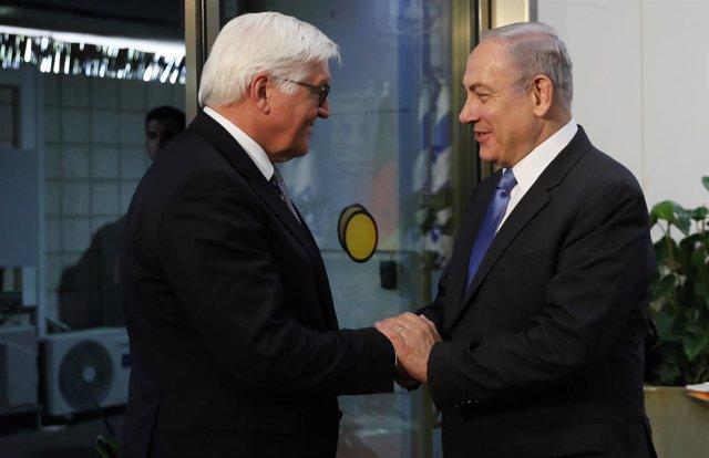 Benjamin Netanyahu y Frank-Walter Steinmeier