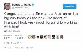 """Trump felicita a Macron por su """"gran victoria"""" y espera trabajar pronto con él"""