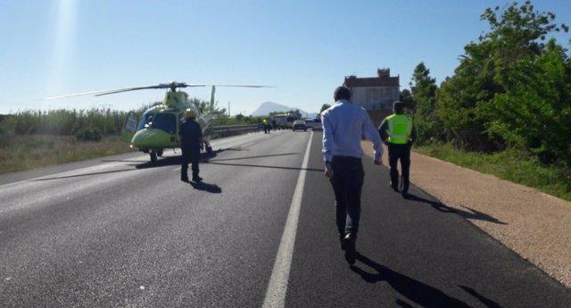 Imagen del lugar del accident6e en Oliva