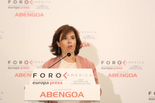 Soraya Sáenz de Santamaría en el Foro América de Europa Press