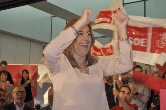 Susana Díaz este domingo en Zaragoza.