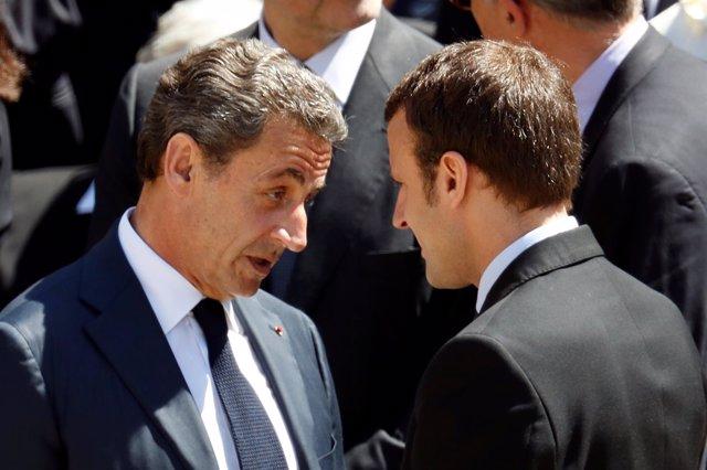 Nicolas Sarkozy y Emmanuel Macron en julio de 2016