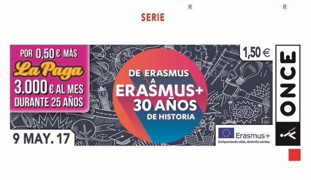 Cupón ONCE por el 30 aniversario del programa Erasmus