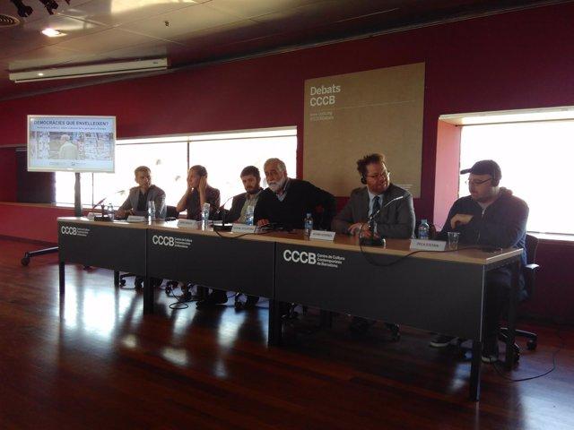 P.Ollalla, M.Daniels, J.Vaquer, V.Villatoro. A.Goerres y P.Stefan en el CCCB