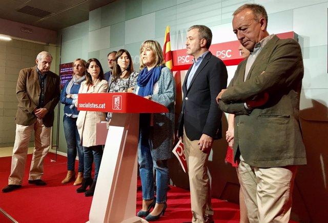 Núria Marín y otros alcaldes del PSC del Área Metropolitana de Barcelona