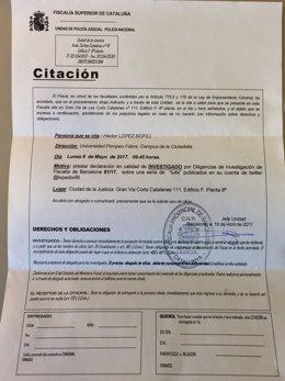 Citación de la Fiscalía al profesor de Derecho Héctor López Bofill