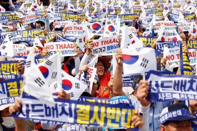 Protestas en Corea del Sur contra el despliegue del THAAD