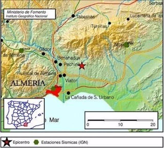 Localización del epicentro del terremoto sentido en Viator (Almería)
