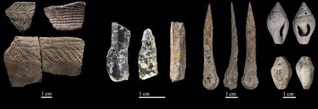 Restos hallados en Cova Bonica (Barcelona) del Neolítico