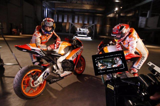 Márquez y Pedrosa durante el rodaje