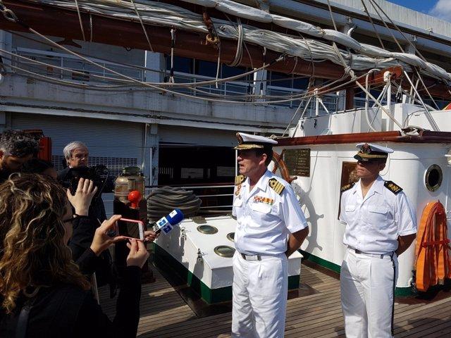 El comandante del 'Juan Sebastián Elcano' a su llegada a Nueva York