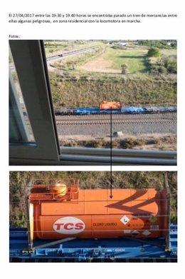Imagen de uno de los trenes parados, desde una ventana de Los Lirios