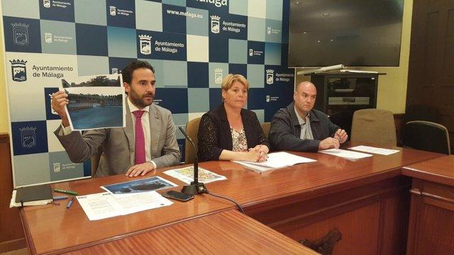 María del Carmen Moreno, Dani Perez y Sergio Brenes del PSOE