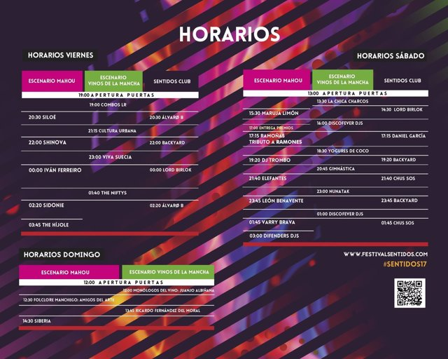 Nota Gab. Prensa Ayto La Roda Horarios #Sentidos17