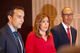 Susana Díaz e industrias del Campo de Gibraltar exigen al Gobierno compromiso presupuestario con la Algeciras-Bobadilla