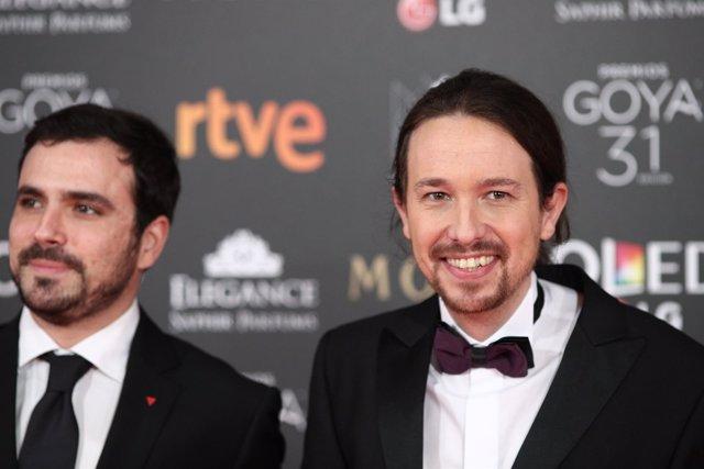Alberto Garzón y Pablo Iglesias en la gala de los Goya