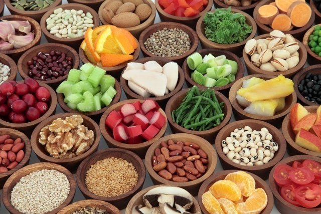 Verduras, frutas, granos, dieta, comida
