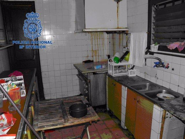 Cocina del domicilio donde vivían los boxeadores nicaragüenses