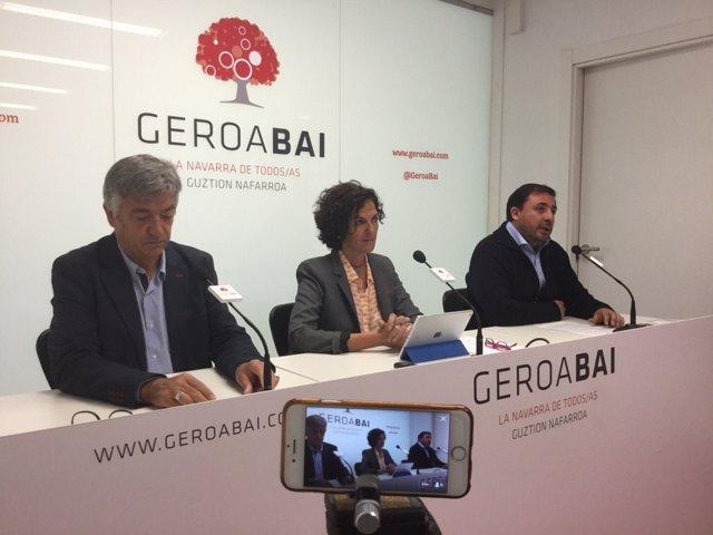 Koldo Martínez, Itziar Gómez y Unai Hualde, de Geroa Bai.