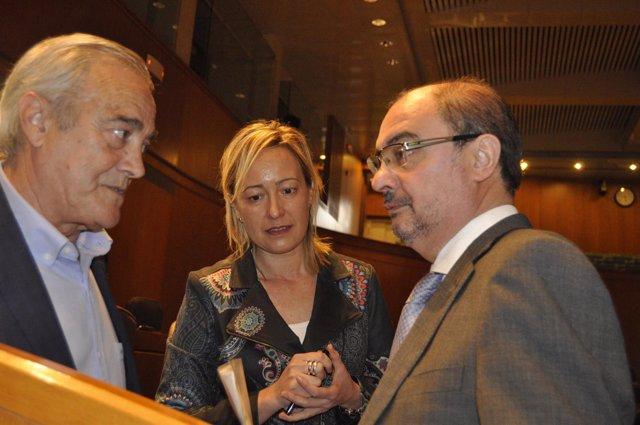 Lambán con Marta Gastón y Javier Sada