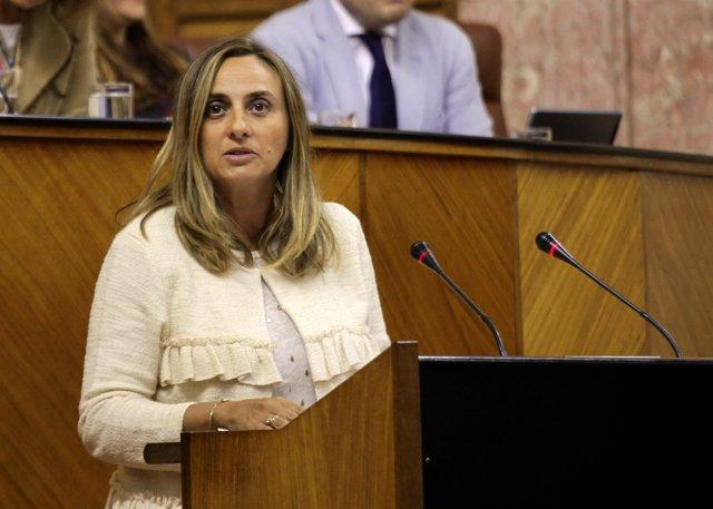 La parlamentaria del PP-A Marifrán Carazo defendiendo la proposición de ley