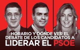 Horario y dónde ver el debate del PSOE entre Susana Díaz, Pedro Sánchez y Patxi López