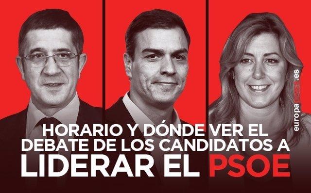 Horario y dónde ver el debate entre Susana Díaz, Pedro Sánchez y Patxi López