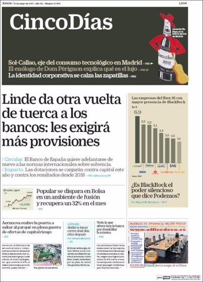 Las portadas de los periódicos económicos de hoy, jueves 11 de mayo