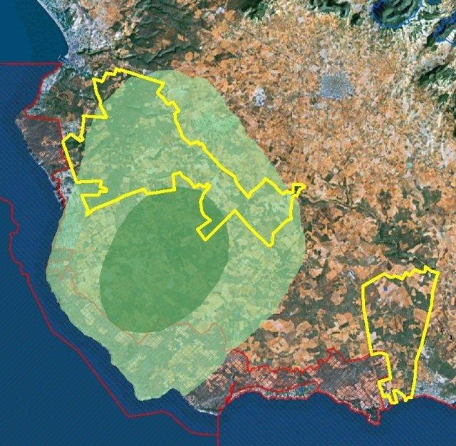 ZEPA actuales (rojo), propuesta de ampliación (amarillo) y zona de milana(verde)