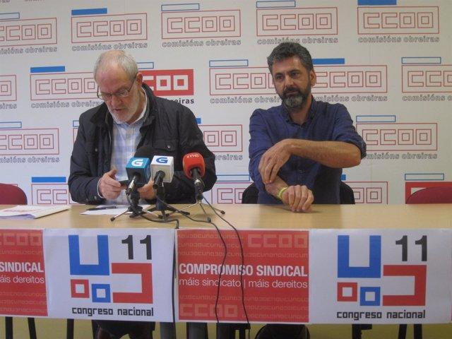Sánchez Aguión y Ramón Sarmiento de CC.OO. En rueda de prensa