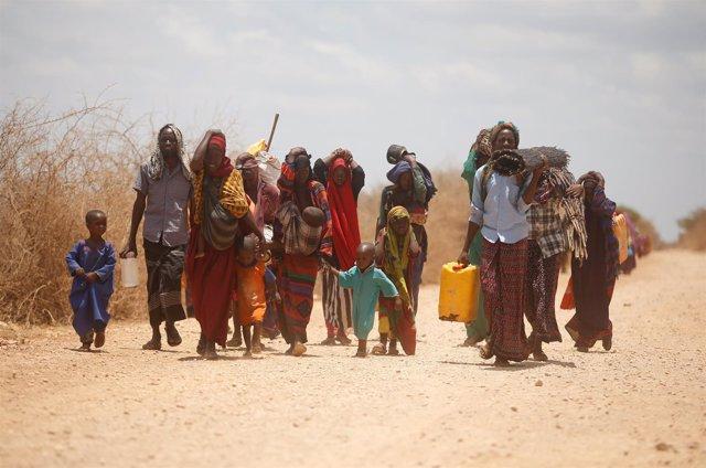 Desplazados por la sequía en Somalia llegan a Baidoa