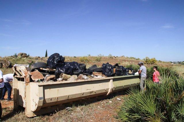 Cuba de escombros recogida por los activistas.